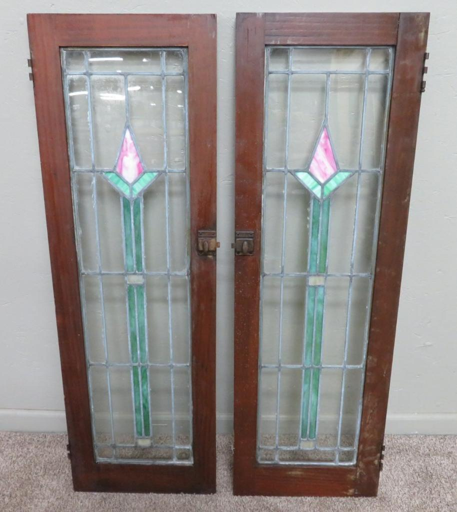Lot Two Stained And Leaded Glass Cabinet Doors Arts And Crafts