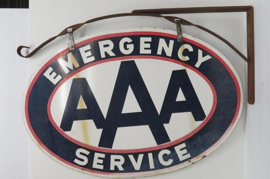 Two sided metal AAA Emergency Service sign, 37""