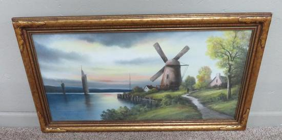 Gunderson Pastel, Dutch scene with sailboats and Windmill