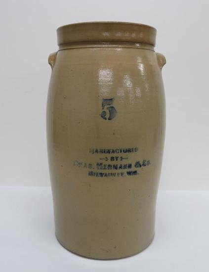 5 gallon Chas Hermann & Co Milwaukee Churn