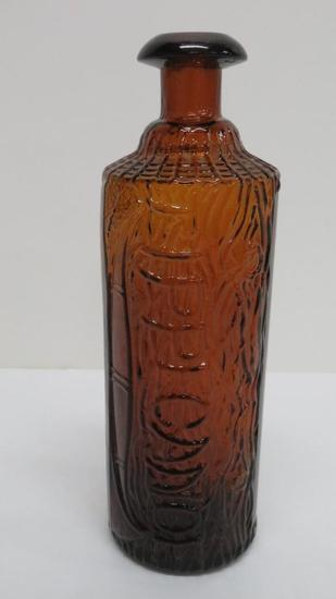 Tippecanoe log bitters bottle, HH Warner & Co, amber, 9""