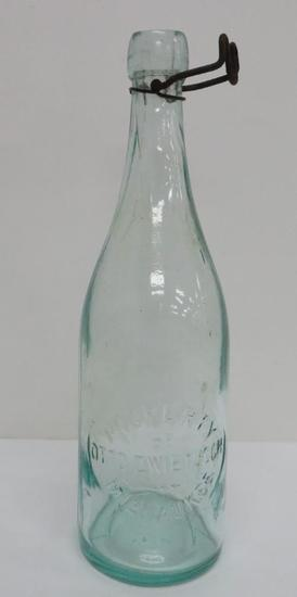 "Otto Zwietusch quart bottle, 11 1/2"", aqua"