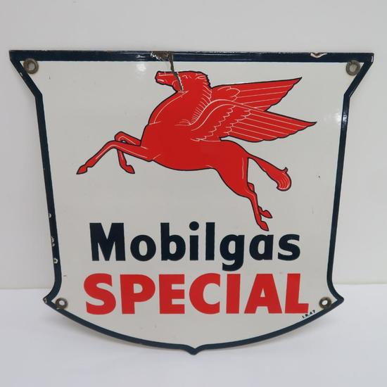 Old Mobilgas Special enamel pump sign plate, 12""
