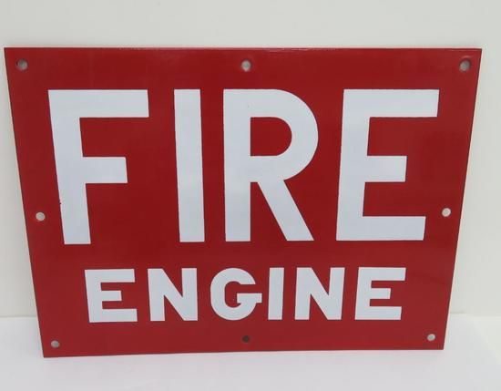 "Two sided metal Fire Engine sign, 14 1/2"" x 10"""