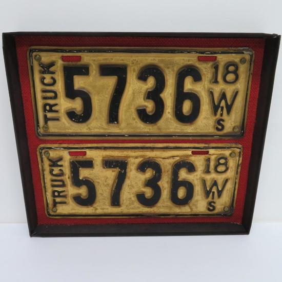 1918 Wis Truck License plates, matched pair, 11""