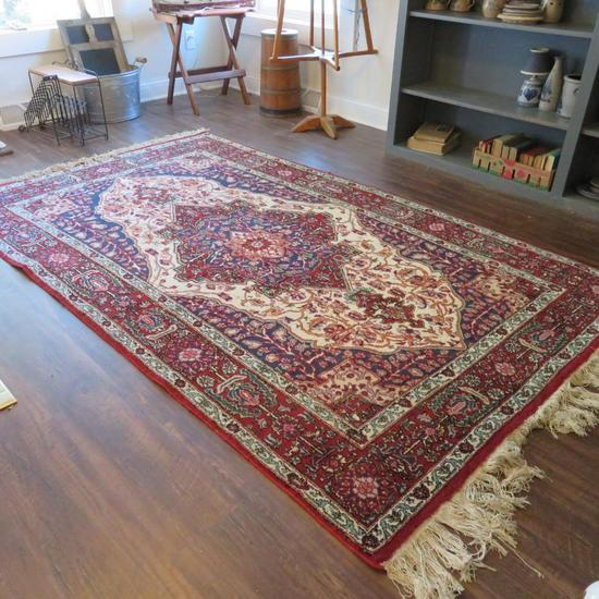 """Lovely red and blue oriental area rug, 8' x 58"""""""