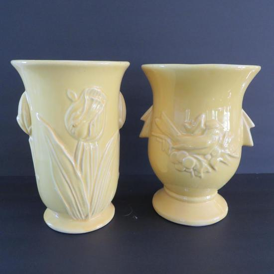 Two Mccoy Vases Yellow Tulip Auctions Online Proxibid
