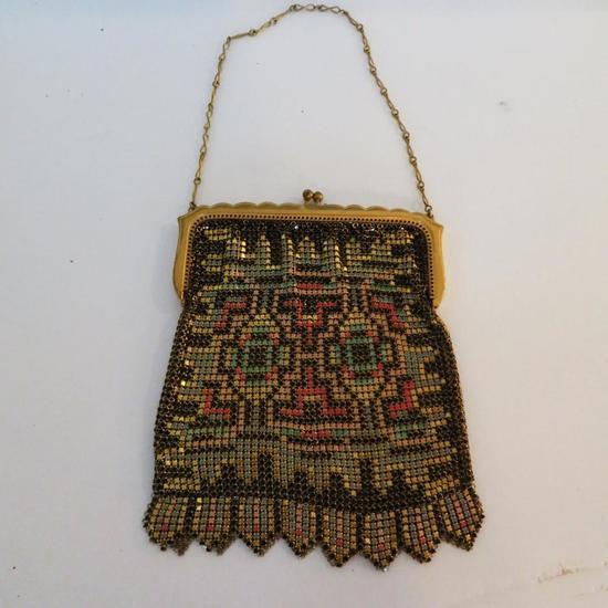 "6"" Whiting and Davis geometric pattern enamel purse"