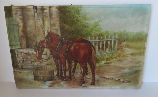 """Oil on canvas Harness Horses, 16"""" x 10"""""""