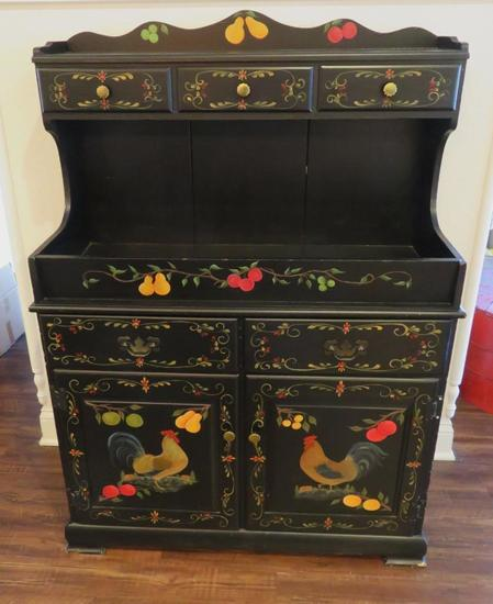 Country Decorated cabinet - Chickens