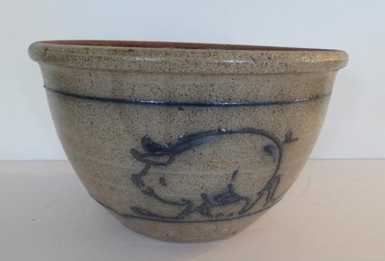 """1983 Rowe Pottery Works Pig bowl, 8"""""""