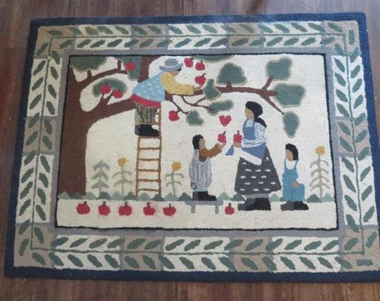 Artist signed and numbered rug, An Apple for Miss Amanda