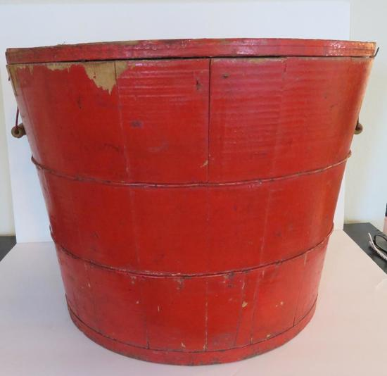 Red lift top wooden bucket with bail handles