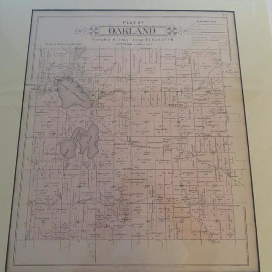 1899 Oakland Area Plat Map, Jefferson County Wis