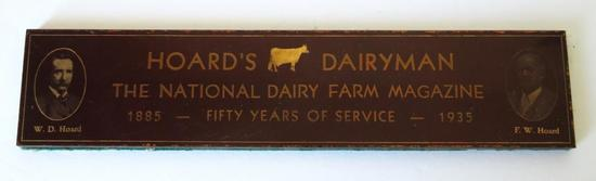 """7"""" Reverse painted glass Hoard's Dairyman paperweight, 1935"""
