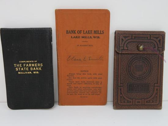 3 Bank Books, Sullivan, Lake Mills, WI & Clinton, IA