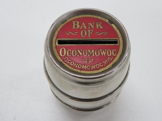 Bank of Oconomowoc Barrel Bank with Box, Oconomowoc, WIS