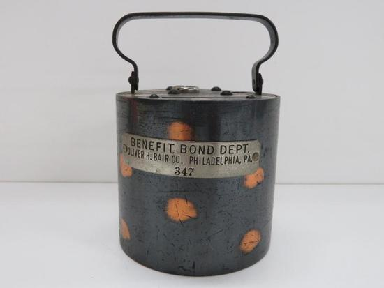Benefit Bond Dept, Oliver H.Bair Co., Philadelphia, PA Bank with handle