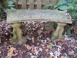 3' Concrete Garden Bench, Dolphin base