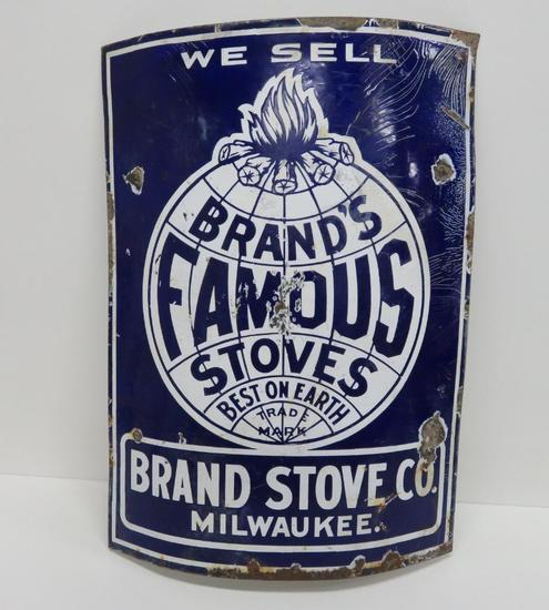 Brands Famous Stoves enamel sign, Milwaukee Wis, concave