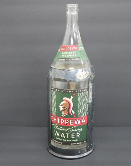 Chippewa Water Bottle in metal frame, Railroad serving piece, 14""