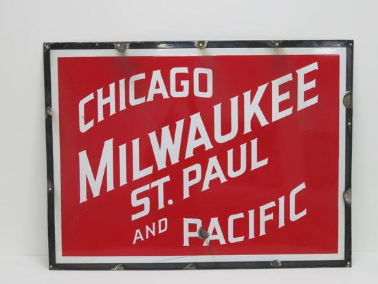 "Chicago Milwaukee St Paul and Pacific enamel sign, 32 1/2"" x 24"""