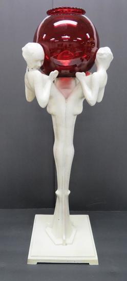 "Frankart Nymph holding bowl statue, 22"""