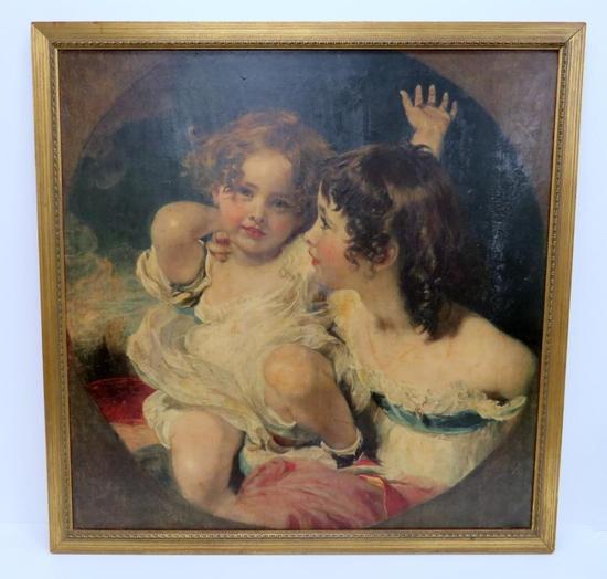 """Print on board, framed, 32 1/2"""" X 33"""", children"""