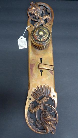 "17"" ornate Gargoyle door back plate and knob, brass"