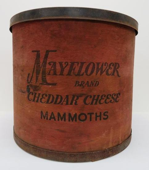 "Mayflower Brand Cheddar Cheese Mammoths wood box, red, 17"""