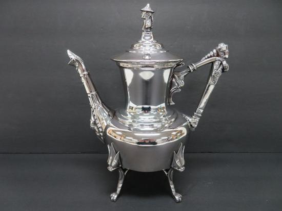 "Ornate Sheridan Taunton Teapot. 10 1/2"", oriental finials"