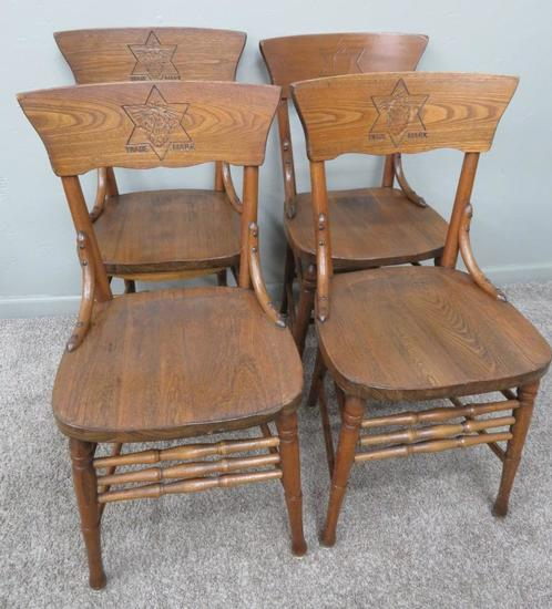 Four Val Blatz Press back chairs, great brewery pieces, Pre Prohibition