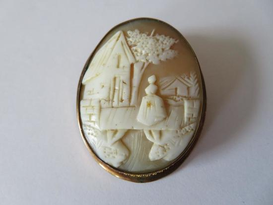 """2"""" carved cameo pin/pendant, landscape with woman"""