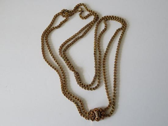 """Lovely watch chain, ornate with seed pearls on slide, 62"""""""