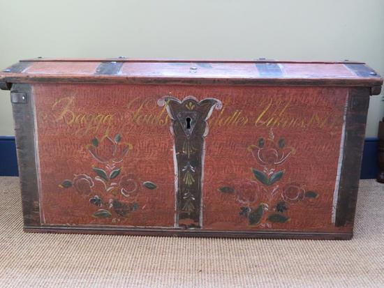Early Stenciled immigrant trunk, floral decorated