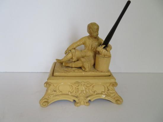 """Early figural double inkwell, boy and rabbit, 6"""""""