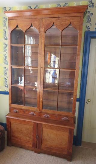 c 1870 Early Cupboard, glass doors, drawers and drawered base