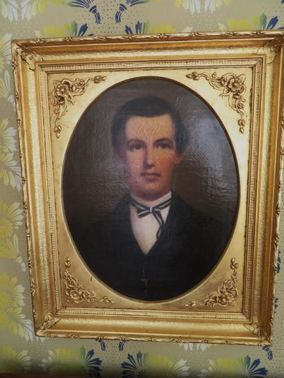 Early Portrait Oil painting in ornate gilt frame