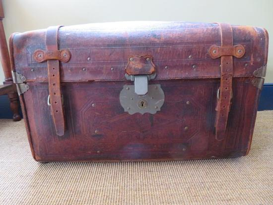 Geo Burroughs and Sons Milwaukee, leather trunk
