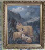 Early oil painting of mountain sheep