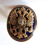 Double Eagle of Lagash signet ring with diamond inlay and enamel design