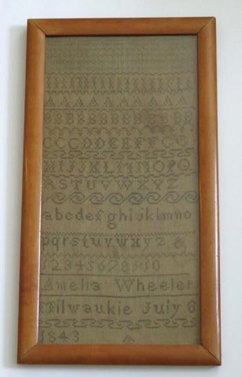 Antique July 8, 1843 Milwaukie Sampler, framed