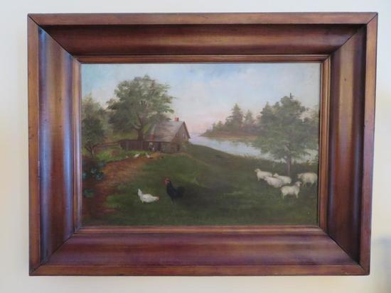 Antique oil on canvas Farmyard painting, framed