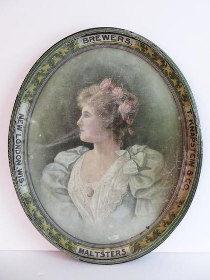 """T Knapstein & Co Brewers Malsters metal advertising tray with woman, 16"""" oval"""