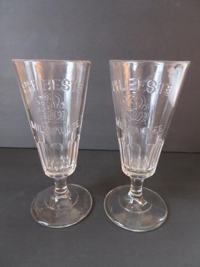 """Two PH Best Milwaukee Pilsner glasses, 6 1/4"""""""