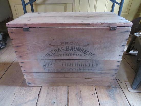 Wood Advertising crate, Chas. Baumbach Co Importers and Wholesalers, Milwaukee