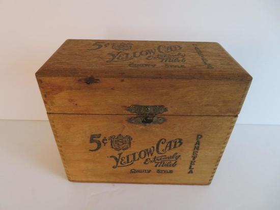 Yellow Cab wooden cigar box, paper label on interior