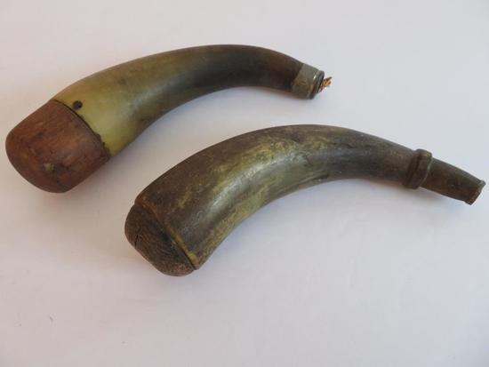 "Two Antique Horn Powder horns, 7"""