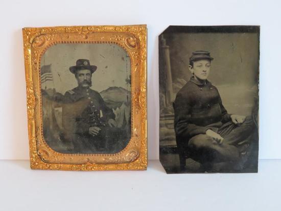 Two Military tin types, Civil War era