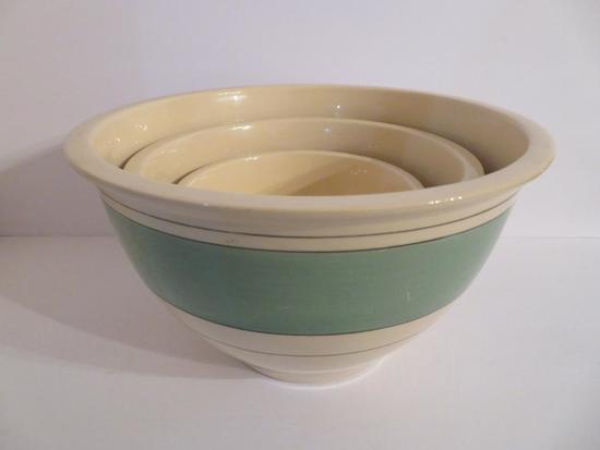 Nest of three green banded Roseville Mixing bowls